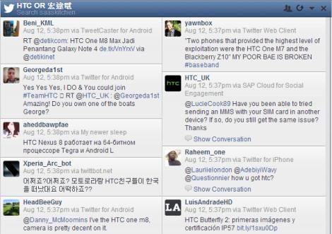 利用Hootsuite監控Twitter上提及HTC之相關推文